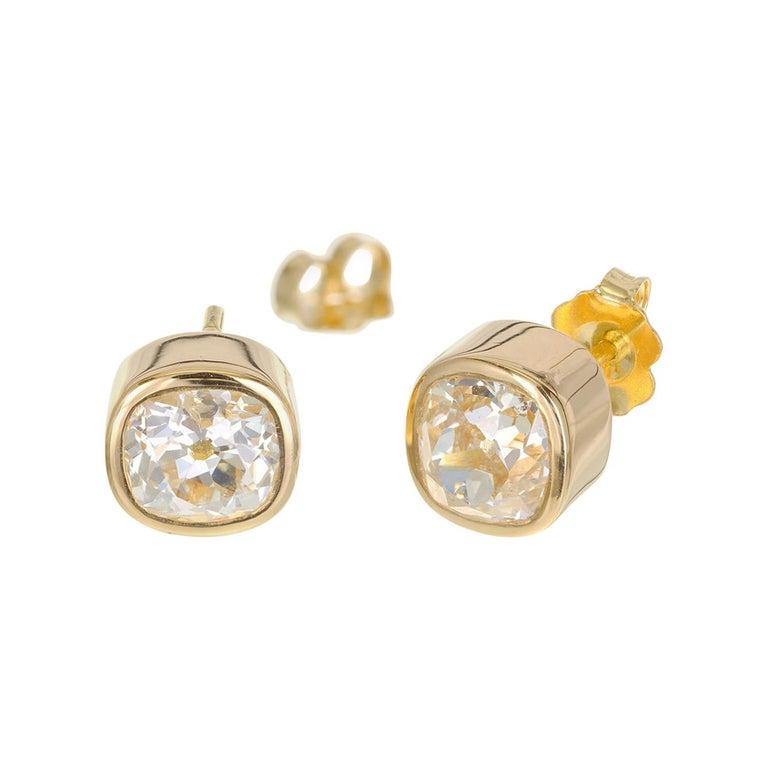 EGL Certified 2.61 Carat Diamond Yellow Gold Bezel Set Stud Earrings For Sale