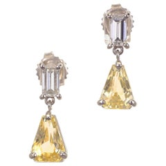 4.00 Carat Yellow Sapphire Diamond Platinum Dangle Earrings