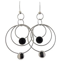 Georg Jensen Regitze Black Jade Sterling Silver Earrings