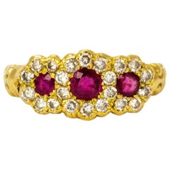 Victorian Ruby and Diamond Triple Cluster 18 Carat Gold Ring