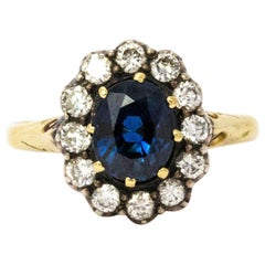 Victorian Sapphire Diamond 18 Karat Yellow Gold Cluster Ring