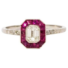 Vintage Pave Set of Ruby and Diamond Platinum Ring