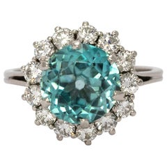 1950s Blue Zircon and Diamond Cluster 18 Carat White Gold Cocktail Ring