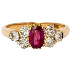 Late Victorian Ruby and Diamond 18 Karat Gold Ring