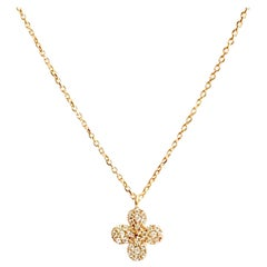 18 Karat Solid Yellow Gold Blossom Diamond Pendant Necklace