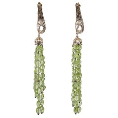White Orchid Studio Drop Earrings Yellow Gold and Peridot