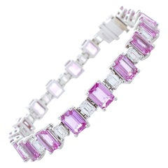 20.47 Carat Total Emerald Cut Pink Sapphire and Diamond Bracelet in White Gold