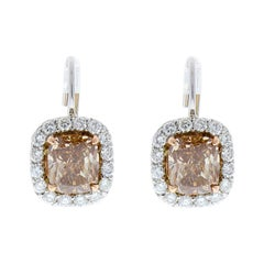 3.07 Carat Total Cushion Cut Brown Diamond Two-Tone Earrings in 18 Karat Gold