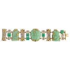 Seaman Schepps Jade, Rock Crystal and Emerald Gold Snuff Bottle Bracelet