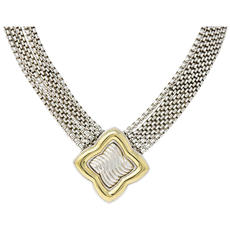 David Yurman Quatrefoil 18 Karat Gold Sterling Silver Multi-Strand Necklace