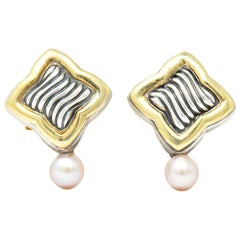 David Yurman Quatrefoil Pearl 18 Karat Gold Sterling Silver Post Earrings