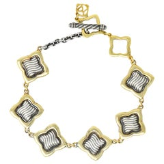 David Yurman Quatrefoil 18 Karat Gold Sterling Silver Link Bracelet with Charm