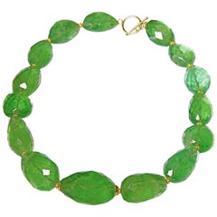 Green Flourite Faceted Necklace with 18 Karat Gold Clasp and Rondelles