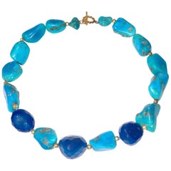 Sleeping Beauty Turquoise Nuggets With Blue Onyx and 18k Gold Clasp and Beads