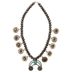 Native American Silver Coin Squash Blossom Necklace, circa 1930s