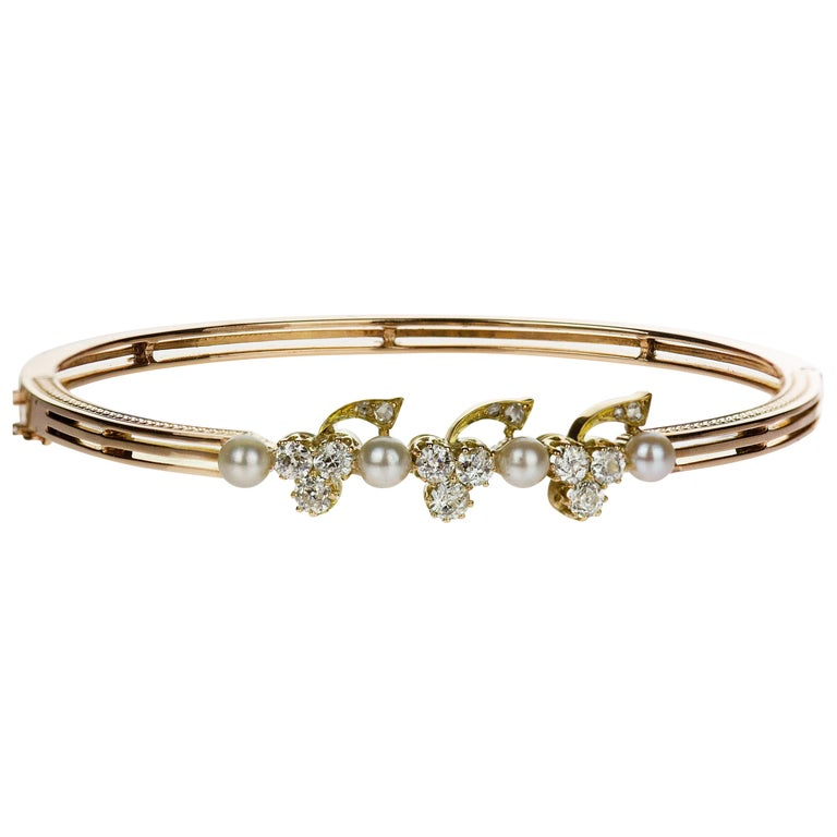 Antique 15 Carat Rose Gold Bangle with Old European Diamond and Sea Water Pearls For Sale