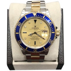 Rolex Submariner 16613 Serti Champagne Diamond Dial 18K Gold & Stainless Steel