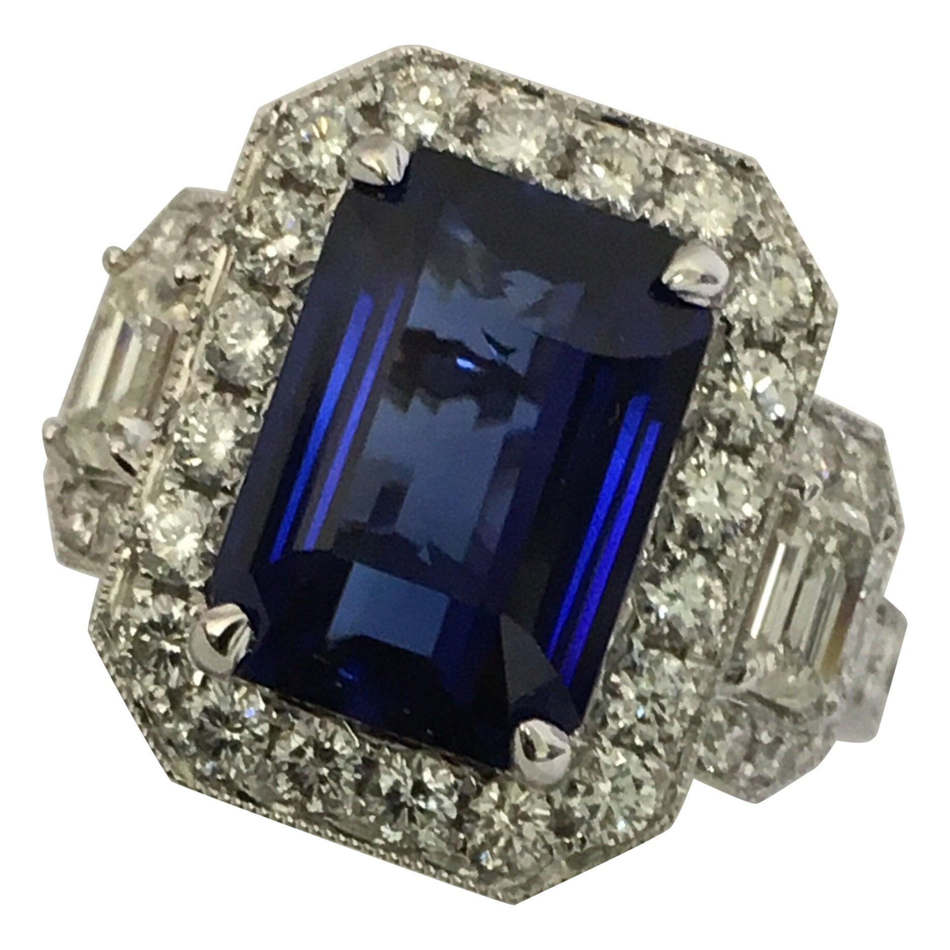 GIA Certified 5.60 Carat Sapphire Diamond Cocktail Ring