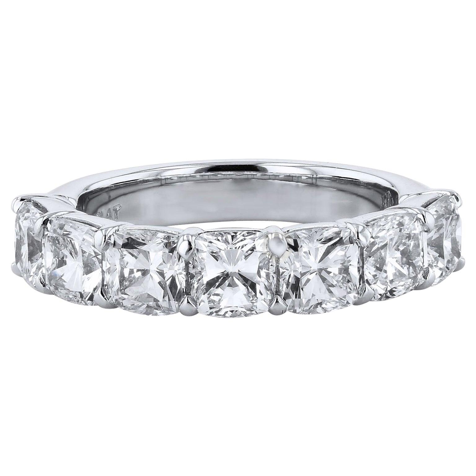 3.50 Carat Seven Stone Cushion Cut Diamond Platinum Eternity Band
