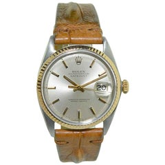 Rolex Two-Tone Steel and Gold Datejust with Rare Rose Gold Bezel, circa 1970s
