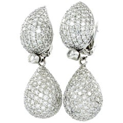 """Elegant Pair of White Gold Diamond """"Day and Night"""" Drop Earrings"""