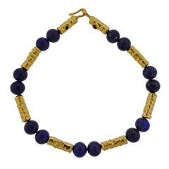 Jean Mahie Gold Lapis Bead Necklace