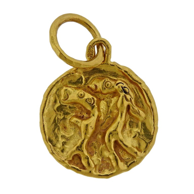 Jean Mahie Gold Charming Creatures Pendant For Sale