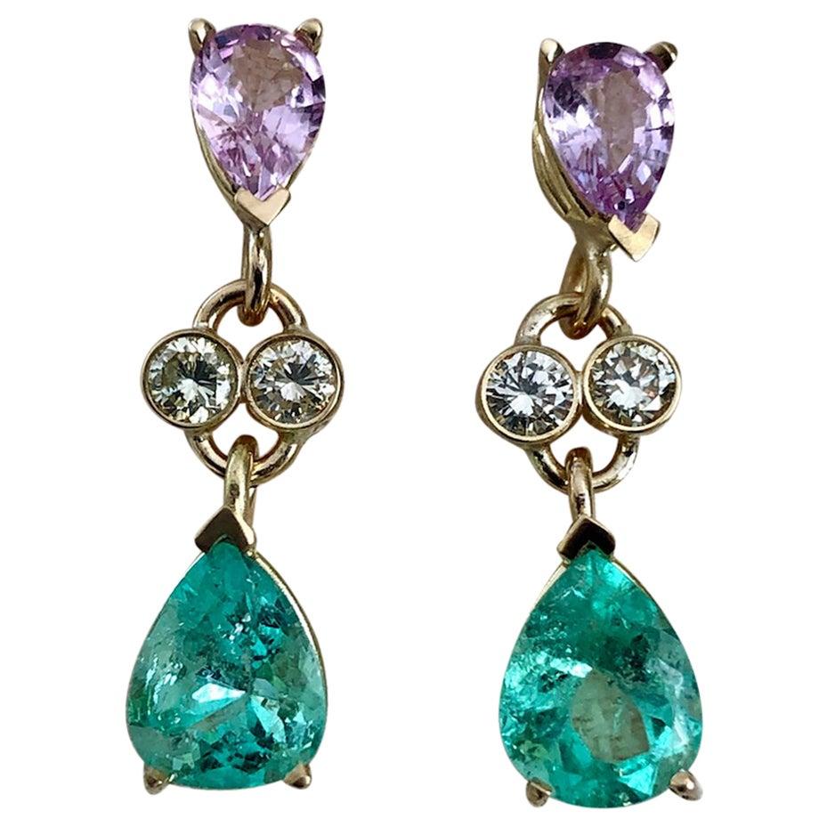 5.20 Carat Colombian Emerald Sapphire Diamond Dangle Earrings 18 Karat