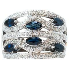 Blauer Saphir und Diamant 14 Karat Weißgold Cocktailring