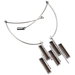 Sterling Silver Smoked Quartz Sculptural Necklace