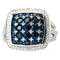 0.50 Carat Blue Sapphire and 0.50 Carat Diamond 14 Karat White Gold Ring