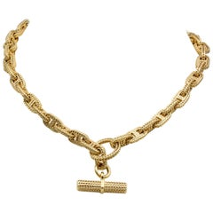 Hermes Chaine D'Ancre Tresse 18 Karat Gold Toggle Necklace