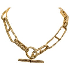Hermes Chaine D'Ancre 18 Karat Gold Flexible Mesh Toggle Necklace