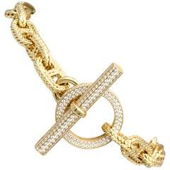 Hermès Chaine D'Ancre Tresse Diamond 18 Karat Gold Toggle Link Bracelet