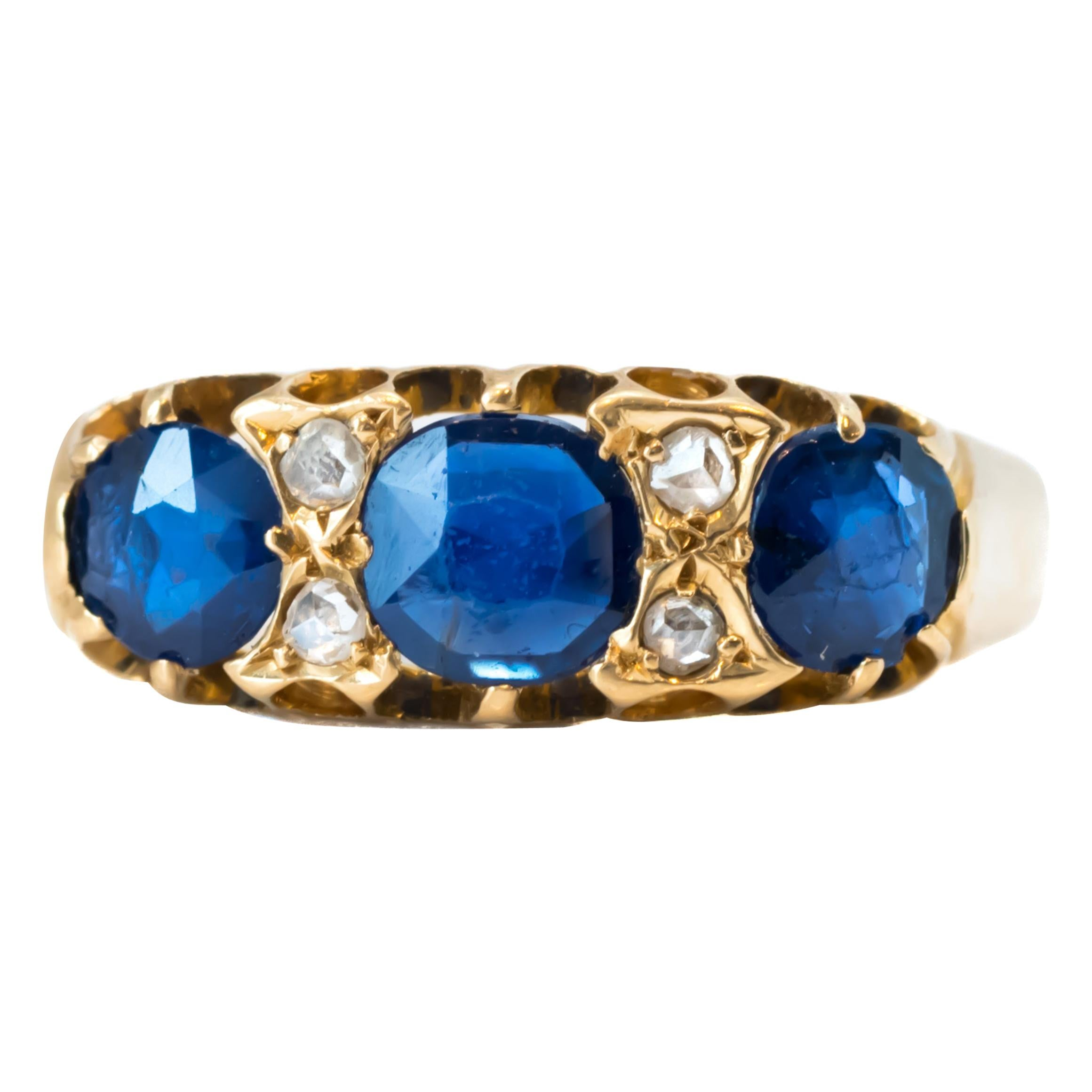 1920s Blue Sapphire and Diamond 18 Karat Yellow Gold Band Ring