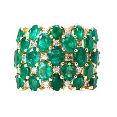 Effy 10 Carat Total Emerald and Diamond 14 Karat Yellow Gold Ring