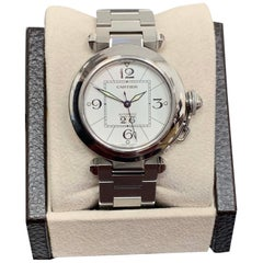Cartier Pasha C 2475 White Dial Stainless Steel Box and Papers