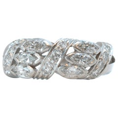 1930s 1.5 Carat Total Diamond and Platinum Band Ring