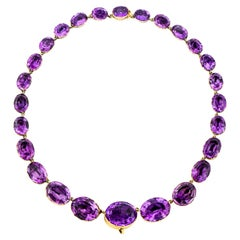 Georgian Era 15K Yellow Gold 100 CT Amethyst Rivière Necklace