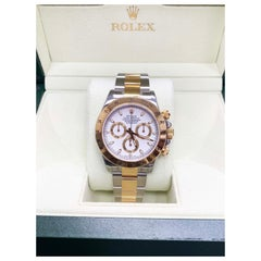 Rolex Daytona 116523 18 Karat Gold and Stainless Steel White Dial Box and Paper