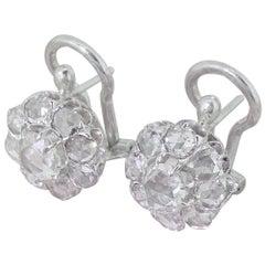 Art-Deco-2,00 Karat Rose geschliffenen Diamanten Cluster Ohrringe
