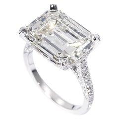 GIA Certified 6.92 Carat Emerald Cut Diamond Engagement Ring