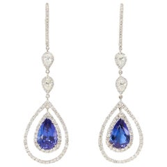 Rare Royal Blue Tanzanite Diamond Gold Drop Earrings