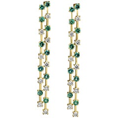 Alexandrite Round and White Diamond Yellow Gold Long Dangling Earring