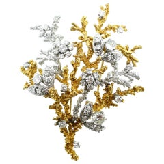 Georges L'Enfant French Yellow and White Gold Diamond Tree of Life Brooch