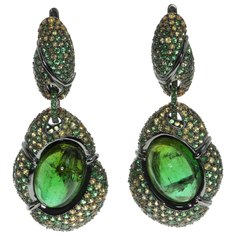 Green Tourmaline Yellow Sapphire Tsavorite 18 Karat Black Gold Earrings