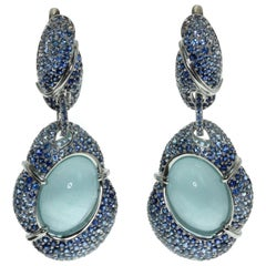 Milky Aquamarine 18.84 Carat Graduated Sapphire 18 Karat White Gold Earrings