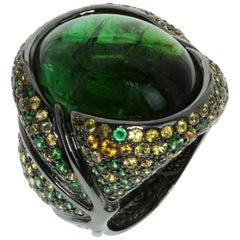 Green 23.30 Carat Tourmaline Yellow Sapphire Tsavorite 18 Karat Black Gold Ring