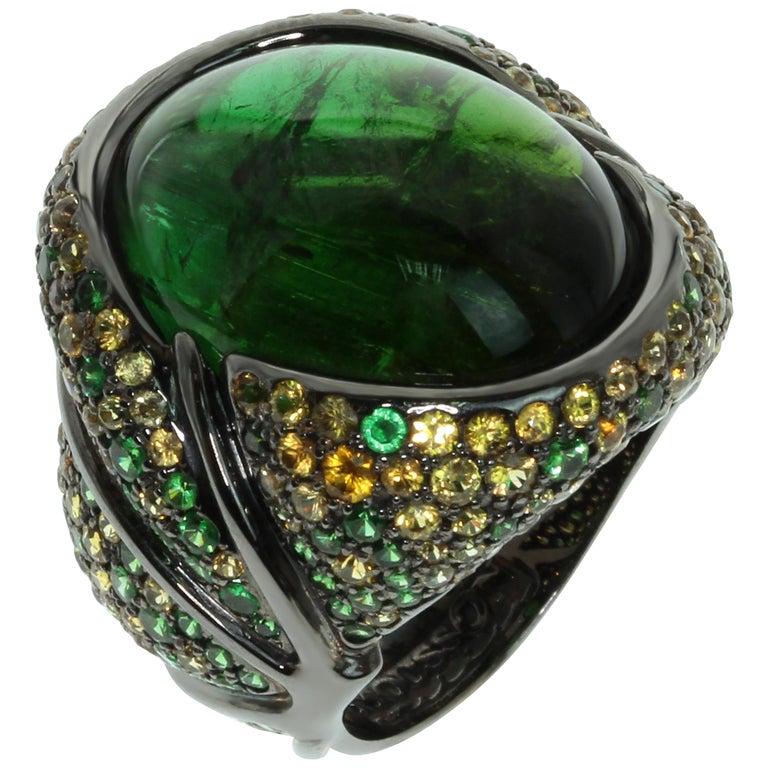 Green 23.30 Carat Tourmaline Yellow Sapphire Tsavorite 18 Karat Black Gold Ring For Sale