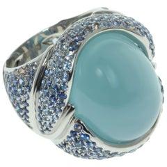 Milky Aquamarine 20.60 Carat Sapphire 18 Karat White Gold Ring